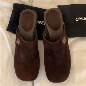Chanel brown suede clogs never used  with bags